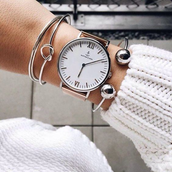 who says rosegold and silver do not fit together? beautiful armcandy and our classic watch by @somegoodspirits prove the opposite | kapten-son.com