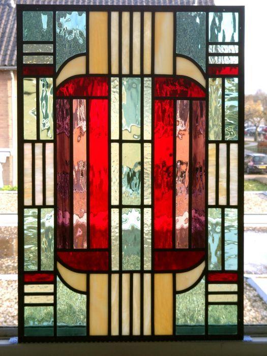 Online Veilinghuis Catawiki Raam Stijl Amsterdamse School Glas In Lood Glas In Lood Amsterdamse School Glas In Lood Kunst