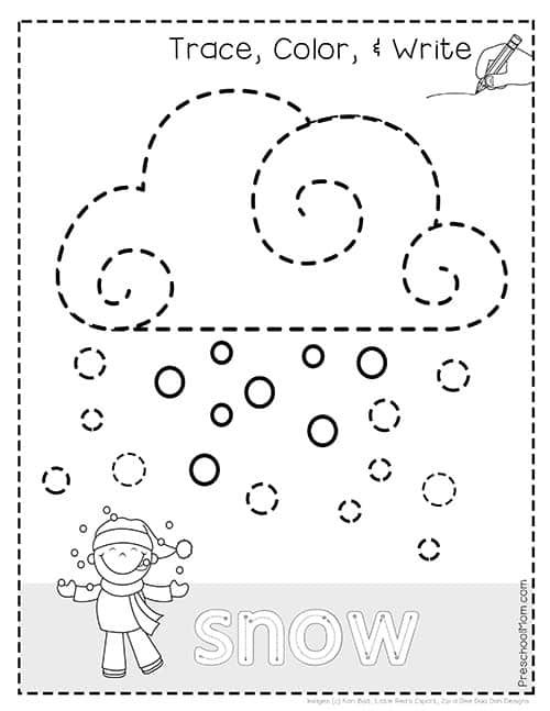 Weather Tracing Pages Weather Activities Preschool Preschool Winter Worksheets Preschool Weather