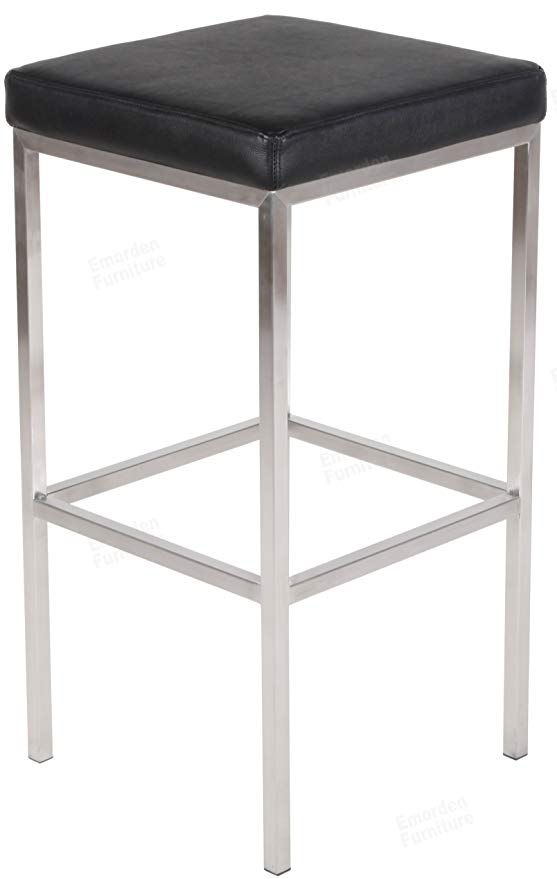Emorden Furniture Sgabello Cube Leggero Bar Stool Chair Without Back Backless Counter Height Stainless Steel Square Bar Stool Chairs Bar Stools Leather Seat