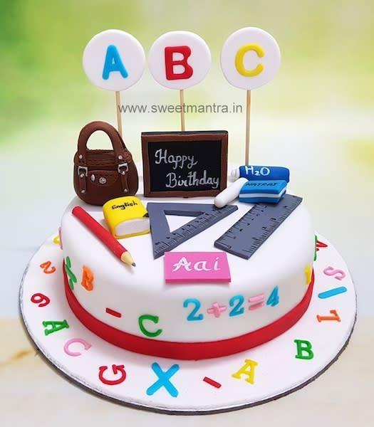 Teacher Theme Customized Designer Fondant Cake For Mom S Birthday At Pune Chocolate Orange Cake Everything Is Teacher Cakes Teacher Birthday Cake School Cake