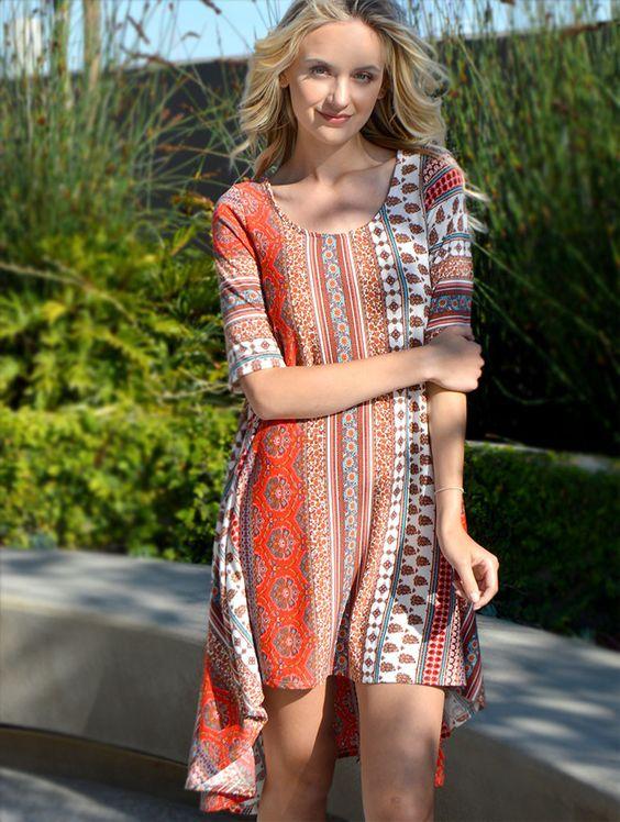 2tee Couture Heather Dress - Red Bohemian Print Dress