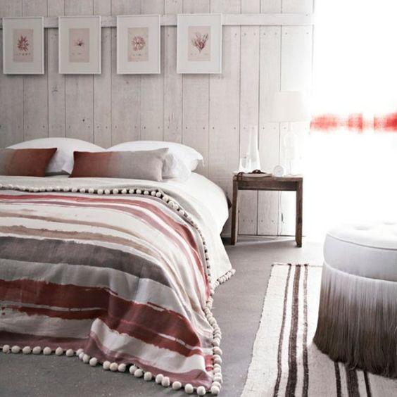 Schlafzimmer ländlich farben gestalten dekoideen streifen ...