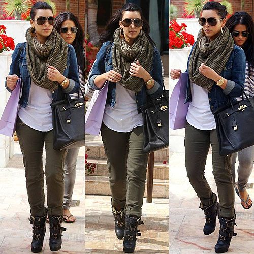 how to wear a jean jacket . White shirt match scarf to jeans