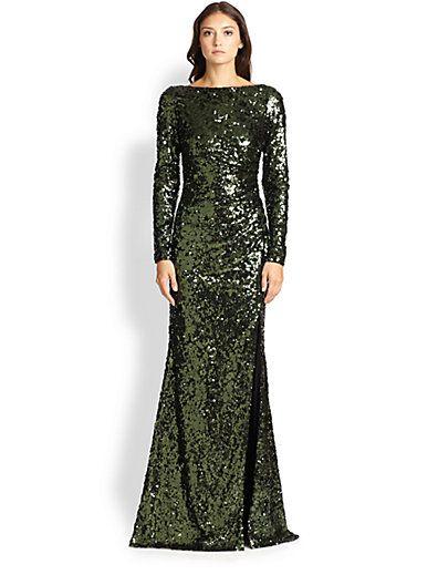 Badgley Mischka - Sequin V-Back Gown - Saks.com - Wedding Ideas ...