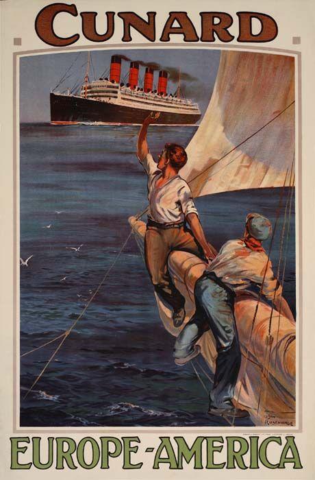 Cunard - Europe - America - 1914 - artist : Odin Rosenvinge -