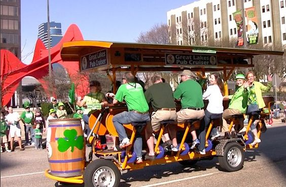 Bicycle built for 15! Cruise the streets of downtown Grand Rapids going from pub to pub on the Great Lakes Pub Cruiser!
