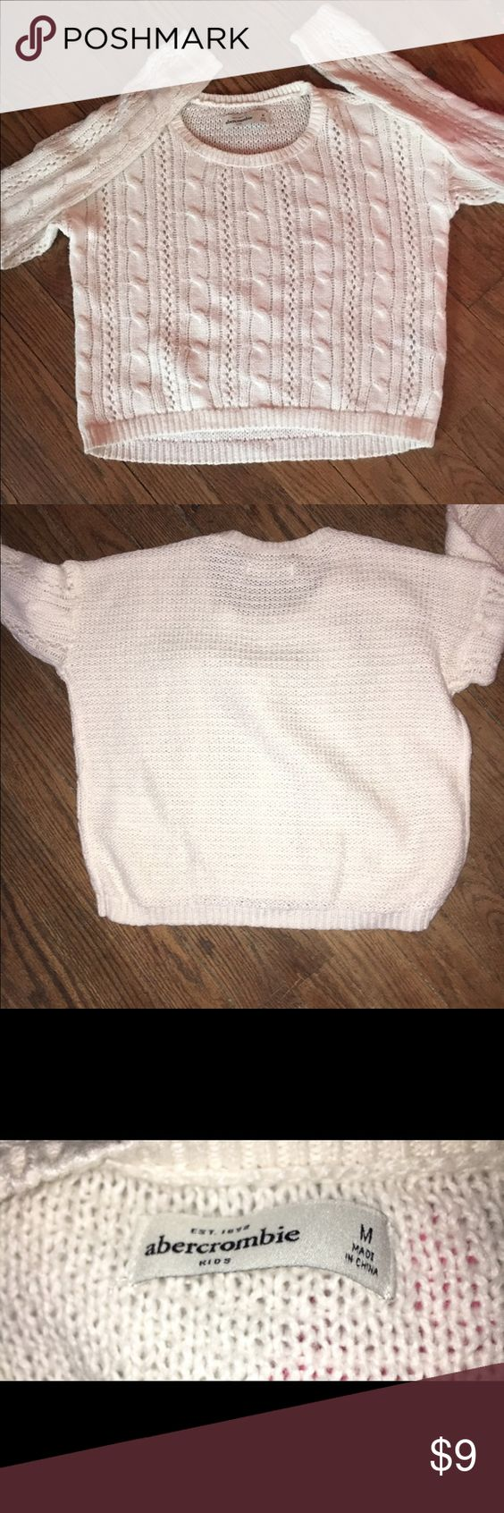 NWOT Abercrombie Kids M Cable Knit Sweater Bought from another Posher.Brand new.I didn't think it would be so short,but it's in perfect condition.Great for winter! abercrombie kids Sweaters Crew & Scoop Necks