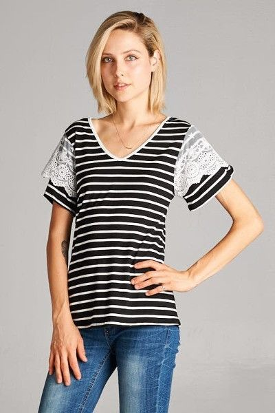 Short Sleeve Striped Top with Lace Detail (S-L)