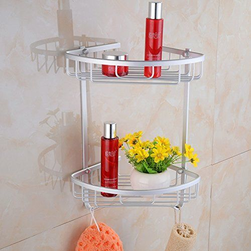 Aluminium Bathroom Shower Shelf Bath Wall Mount Storage Holder Organizer Rack
