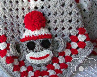 Crochet Sock Monkey Baby Blanket, Sock Monkey Baby Blanket, Sock Monkey Nursery, Crochet Baby Blanket, Granny Square Baby Blanket, 2 Sizes