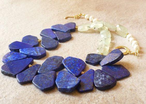 VERMEIL GOLD Halskette Lapis Lazuli Prehnit  von MaBelleJewels auf DaWanda.com