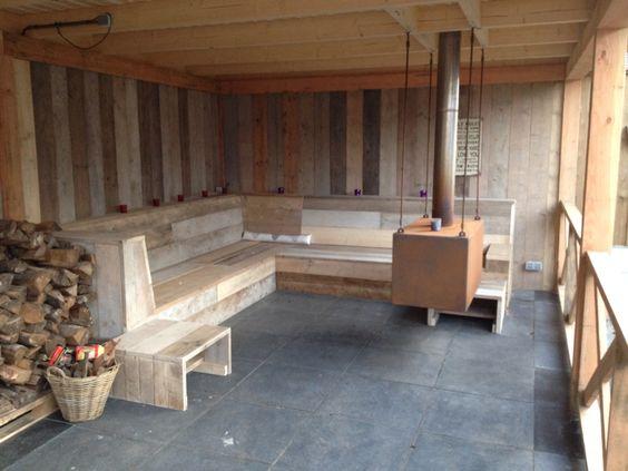 Mijn overkapping met open haard en lounge bank tuin for Open veranda design