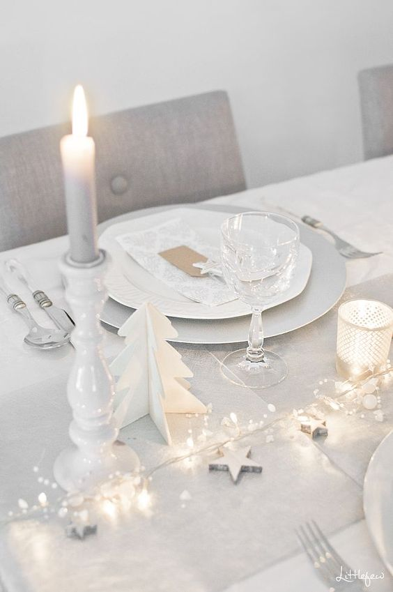 white table setting for christmas,,,,change out christmas decor for new years or parties.: