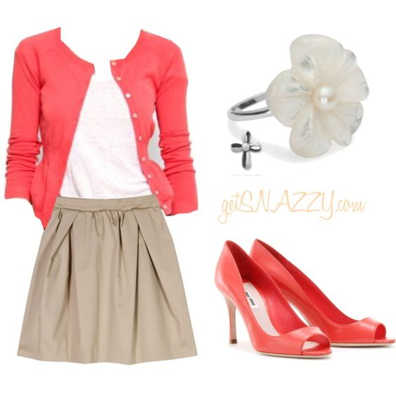 Coral and Tan...I like the colors together