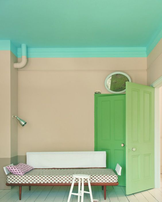 Extending paint beyond the ceiling. Love the mix of colour too (via Farrow & Ball)