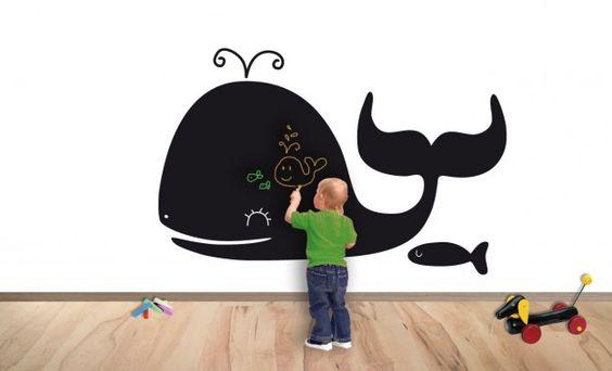 Muro con pittura lavagna.  Decorazioni per le pareti della cameretta dei bambini