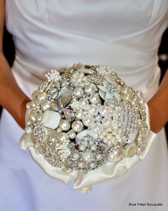 Jeweled Pearl Brooch Bouquet by Blue Petyl - BB06