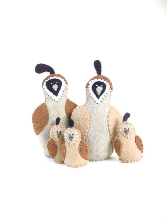 Quail family soft sculpture made with felt by WillowandQuail, $65.00