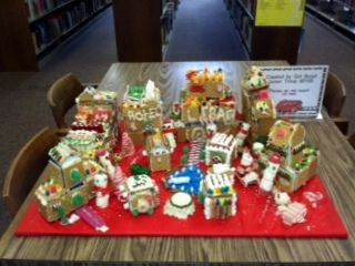 Gingerbread Village made by Girl Scout Junior Troop 80105 - on display at Southworth Library through the holidays!