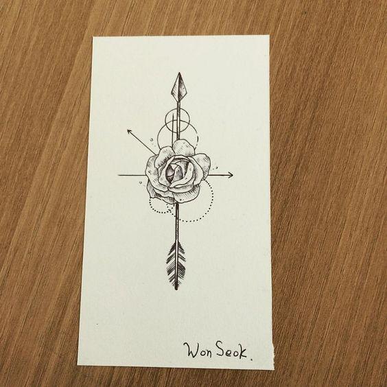 Rose&Arrow tattoo design