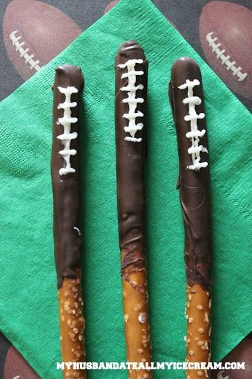 We love these Chocolate Dipped Football Pretzels from blogger My Husband Ate All the Ice Cream! http://www.myhusbandateallmyicecream.com/2013/12/football-pretzels/: