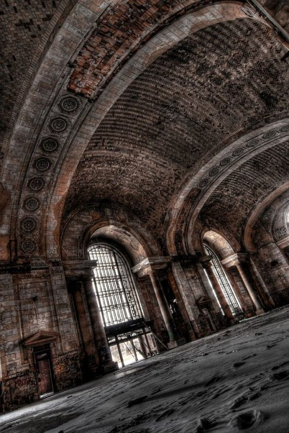 A skewed perspective of the abandoned Michigan Central Depot in Detroit, MI