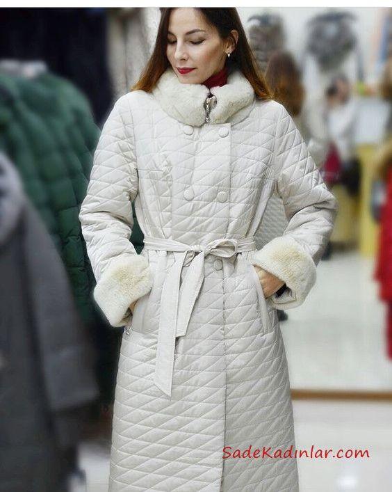 2019 Bayan Mont Modelleri Beyaz Uzun Kollari Yakasi Kurklu Cepli Kumas Kemerli Mont Manto Yeni Moda