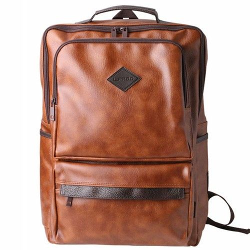 Brown Backpacks for Men Faux Leather Laptop Backpack LEFTFIELD 016 ...