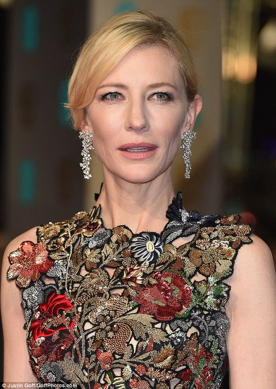 Cate Blanchett is wearing an Alexander McQueen gown, Tiffany & Co jewelry, and Giuseppe Zanotti shoes at BAFTAs 2016.