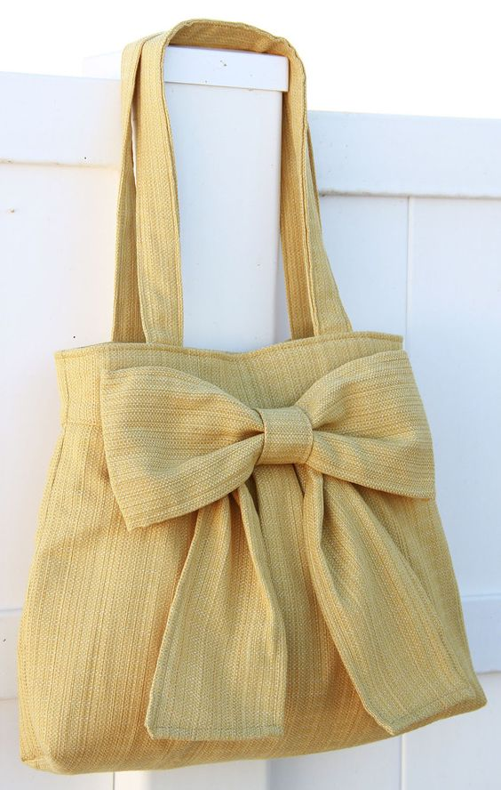 NEW Light Mustard Yellow Bow Bag / Purse with Double Handles. $40.00, via Etsy.