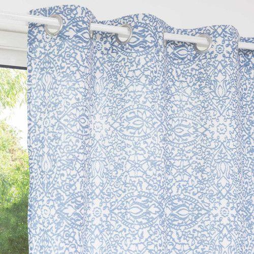 Blauw gordijn met motieven in stof 110 x 250 cm SURABAYA