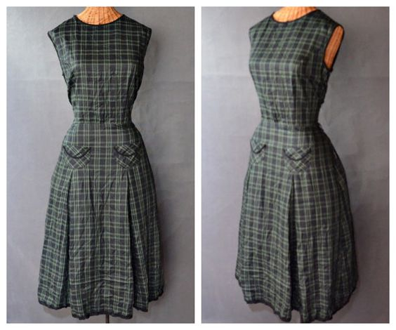 $49 Etsy listing at http://www.etsy.com/listing/156321721/1950s-dress-50s-plaid-navy-blue-and