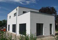 kubushaus im bauhausstil n he darmstadt mit dachterrasse und integrierter garage architektur. Black Bedroom Furniture Sets. Home Design Ideas