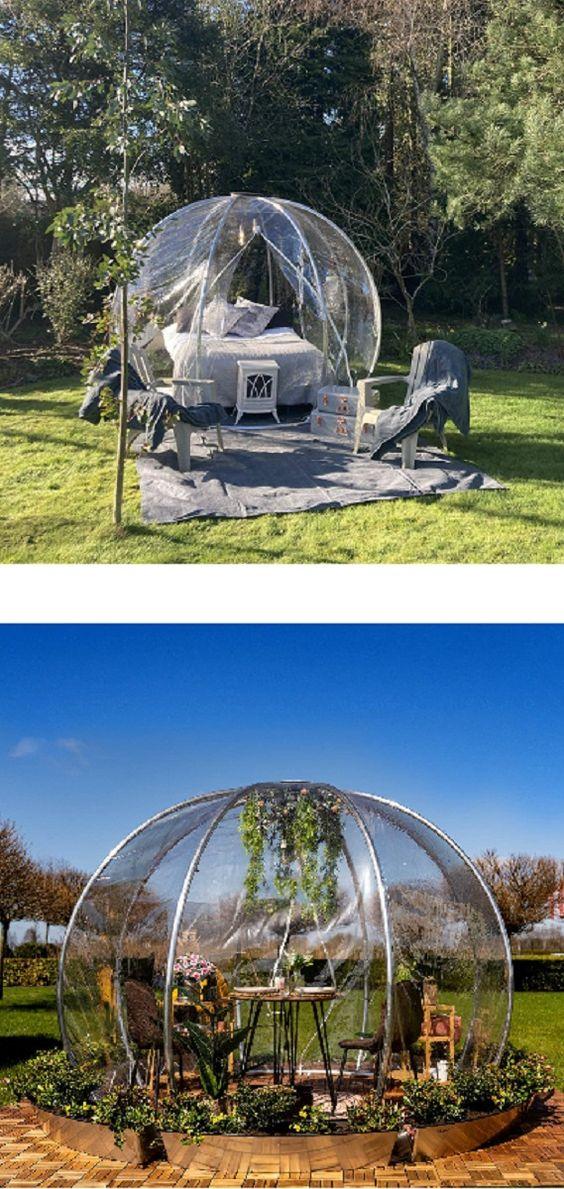 Garteniglu - astrea Iglu für Garten oder für Unternehmen. Pavillon, Gewächshaus, sommerliches Himmelbett oder einfach eine Möglichkeit zu jeder Jahreszeit angenehm draußen zu sitzen. Das alles kann unser astreea Igloo sein. Und trotz seiner Mobilität ist es schnell aufgebaut und dank des im Bereich Luft- und Raumfahrt zertifizierten Aluminiums 6063 sehr robust. Die mitgelieferte Abdeckungshaube besteht aus einer transparenten 0,8mm PVC-Folie und schützt zusammen... *Pin enthält Werbelink