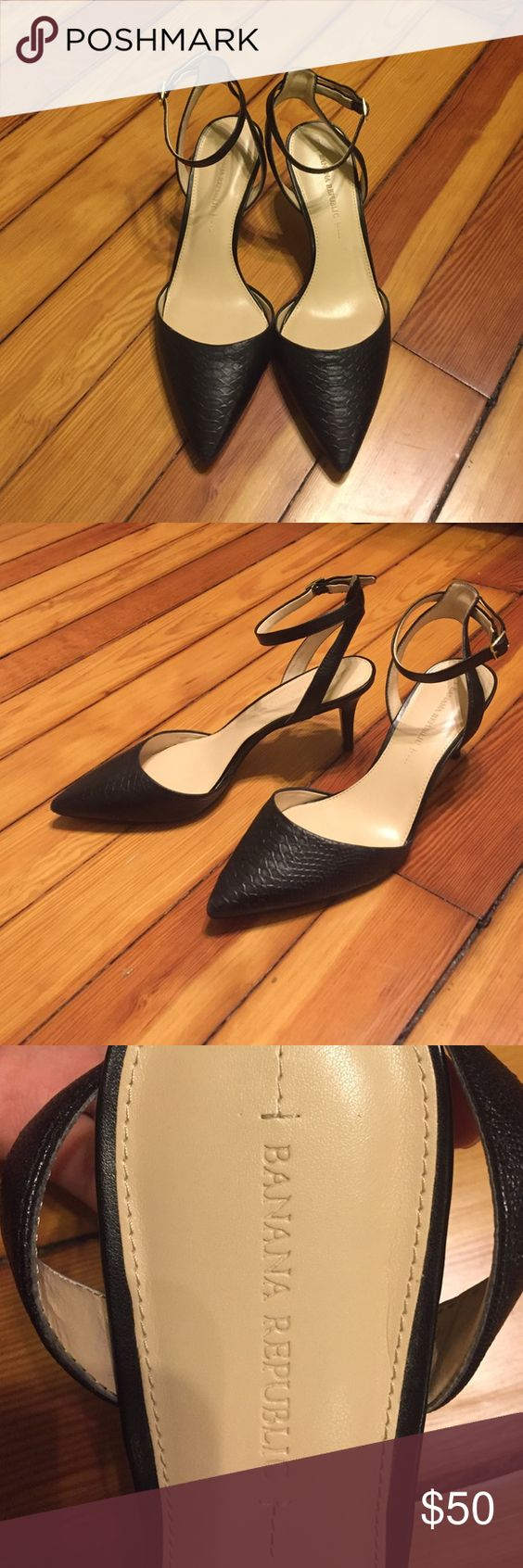 Banana Republic Black Ankle Strap High Heels Banana Republic black high heals with ankle strap.  Snake skin imprint on leather.  Worn only three or four times.  Great condition.  Heel is about 3 inches high.  Size 9M. Banana Republic Shoes Heels