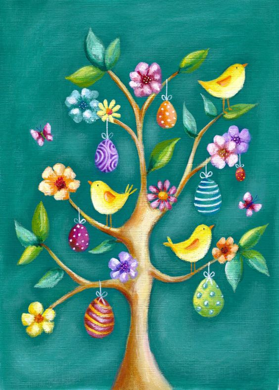 Ileana Oakley —  Easter Tree with Eggs & Chicks  (700×979):