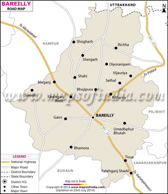 Map showing the entire road network of Bareilly district Uttar – Road Map of Up