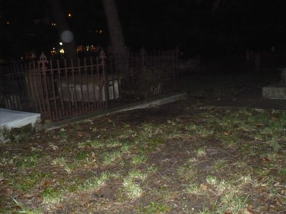 Lois M. took this photo while on a ghost tour in St. Augustine, FL. Orbs in a cemetery.