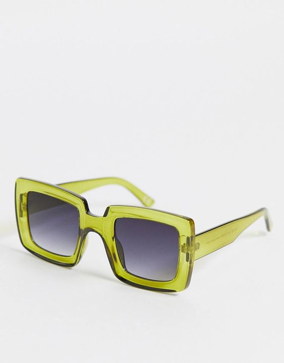 ASOS DESIGN recycled frame chunky oversized 70s square sunglasses in green