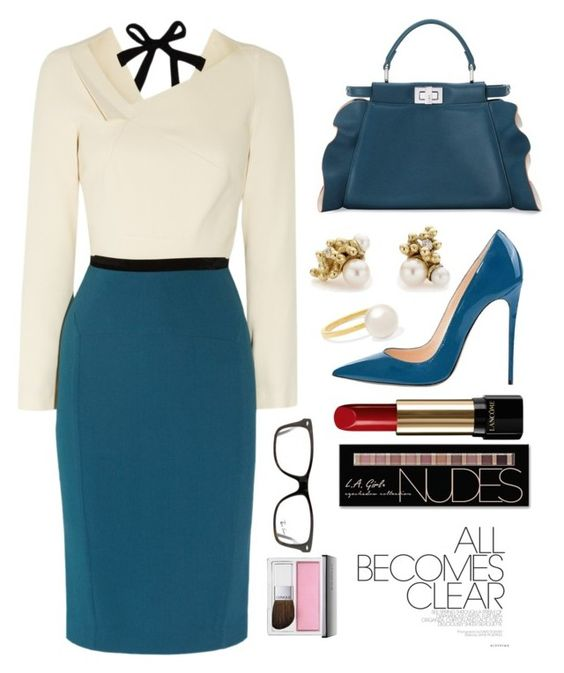 """""""Office Outfit"""" by piedraandjesus on Polyvore featuring moda, Ruth Tomlinson, Fendi, Roland Mouret, Sophie Bille Brahe, Lancôme, Charlotte Russe, Ray-Ban y Clinique"""