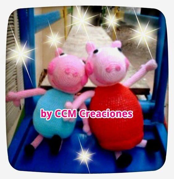 Peppa y George Pig amigurumi. Más modelos en www.facebook.com/byccmcreaciones