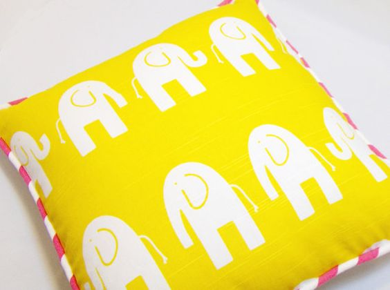 Pretty yellow elephant and gray chevron pillow cover with hot pink striped piping that would be fantastic in a nursery or childrens room.   2 in 1 pillow! One side is yellow with an elephant print fabric. The back side is a gray and white chevron. Piping is ht pink and white stripes. The Piping...
