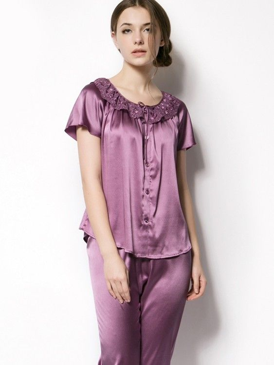 Short Sleeve Silk Pajamas TB49 | Silk Pajamas, Pajamas and Silk