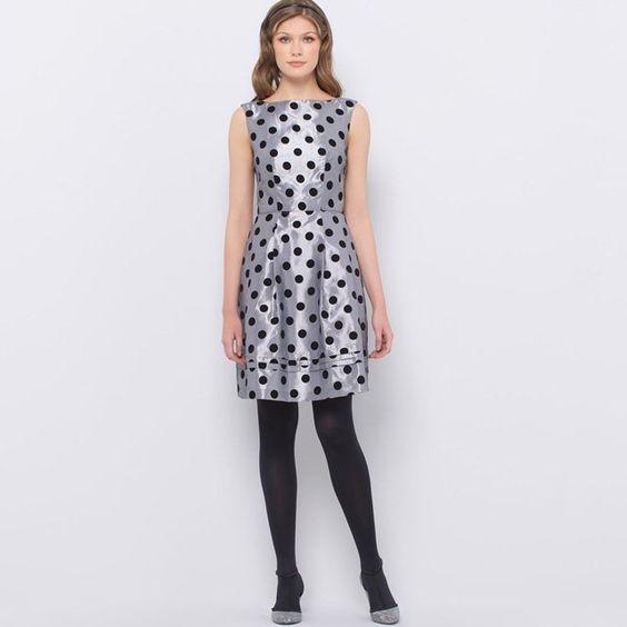 Flocked Polka Dot Taffeta Shift Dress
