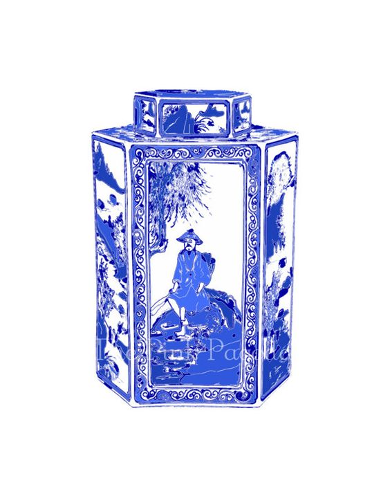 Blue and White Chinoiserie Tea Caddy on White by thepinkpagoda, $35.00