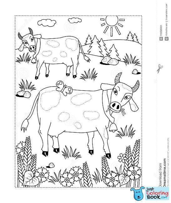 Coloring Page With Milk Cows On A Pasture Stock Vector For Grazing Cow Coloring Pages For Free Cow Coloring Pages Toddler Coloring Book Grazing Cow
