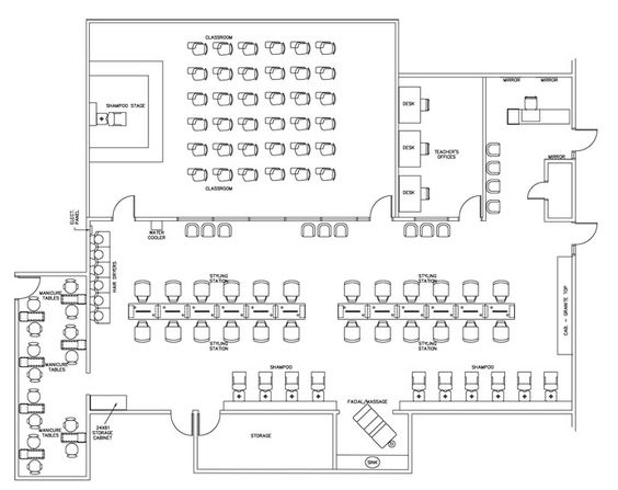 Cosmetology Technical School Interior Design Floorplan Layout
