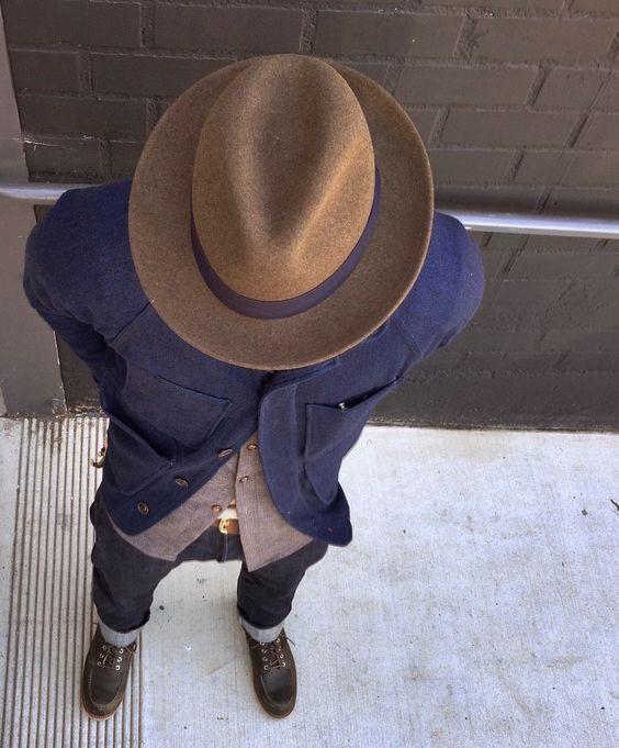 fedora hat button down shirt