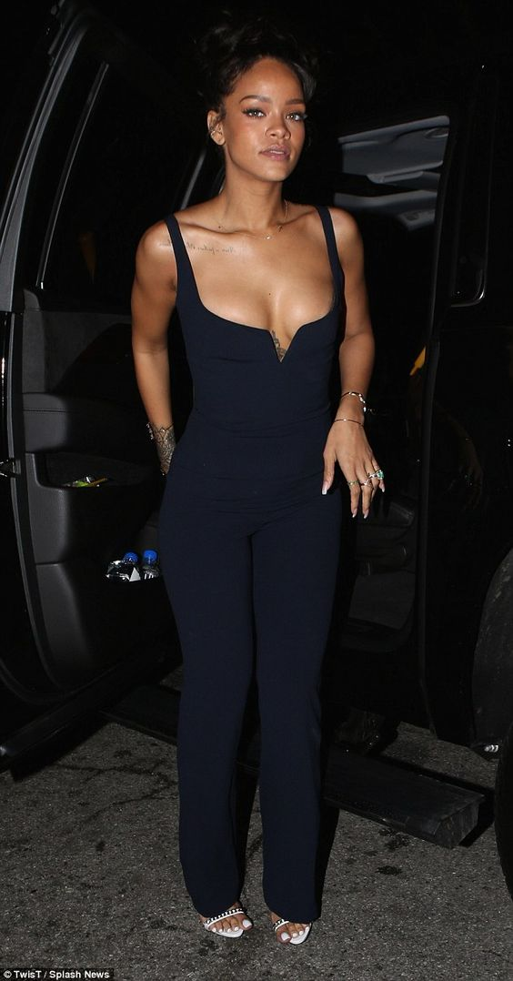 Taking the plunge: Rihanna seemed to have learned from her mistakes as she took things back to basics with a simple and stylish ensemble to continue the party at 1OAK in Los Angeles after the Grammys ceremony